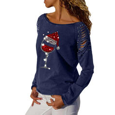 Cekiny Okrągły dekolt Długie rękawy Casual Boże Narodzenie Bluzki