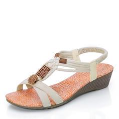 Femmes Tissu Talon plat Sandales avec Brodé chaussures