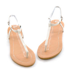Women's Leatherette Flat Heel Sandals Flats Peep Toe Slingbacks With Others shoes