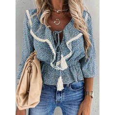 Print Lace V-Neck Long Sleeves Casual Blouses