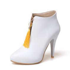 Femmes PU Talon stiletto Escarpins Bottines avec Zip Tassel chaussures