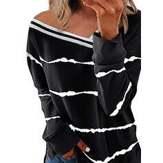 Print Gestreept V-hals Lange Mouwen Casual Overhemd