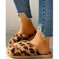 Women's Velvet Slippers With Faux-Fur shoes