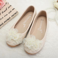 Girl's Leatherette Flat Heel Closed Toe Flats Flower Girl Shoes With Imitation Pearl Flower