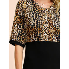 Animal Print 1/2 Sleeves Sheath Knee Length Casual/Elegant Dresses