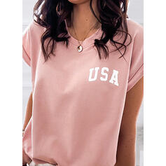 Figure Print Round Neck Short Sleeves T-shirts