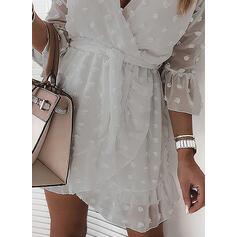 Solid 3/4 Sleeves Sheath Above Knee Casual/Elegant Wrap Dresses