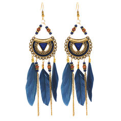 Unique Gorgeous Exquisite Alloy Feather With Feather Earrings