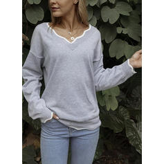 Solid Grid V neck Sweaters