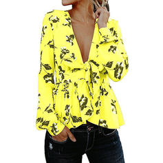 Print V-Neck 3/4 Sleeves Casual Elegant Sexy Ruffle Blouses