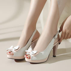 Naisten PU Piikkikorko Sandaalit Avokkaat Platform Peep toe Kantiohihnakengät jossa Bowknot kengät
