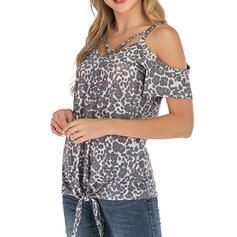 Leopardo Ombros à Mostra Manga Curta Casual Blusas