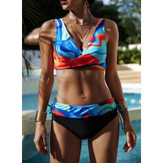 Taille Haute Imprimé À Bretelles Col V Sexy Vintage Grande taille Bikinis Maillots De Bain