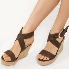 Dla kobiet PU Obcas Koturnowy Sandały Platforma Koturny Otwarty Nosek Buta Z Klamra obuwie