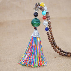 Fashionable Agate Wooden Beads With Tassels Women's Fashion Necklace