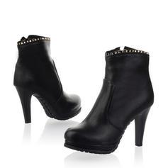 Women's PU Stiletto Heel Pumps Platform Knee High Boots With Zipper shoes