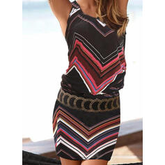 Striped Sleeveless Bodycon Above Knee Casual/Boho/Vacation Tank Dresses