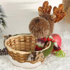 Merry Christmas Snowman Reindeer Santa Wicker Non-Woven Fabric Christmas Décor
