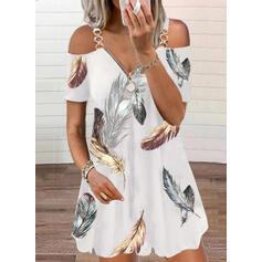 Nadrukowana Krótkie rękawy Koktajlowa Nad kolana Casual Tunika Sukienki