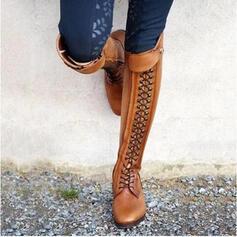 Pentru Femei Imitaţie de Piele Toc jos Cizme cu Nit Fermoar pantofi