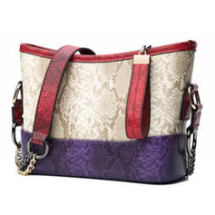 Splice Color PU Shoulder Bags/Hobo Bags