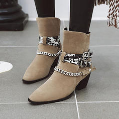 Women's PU Chunky Heel Ankle Boots With Buckle Chain shoes
