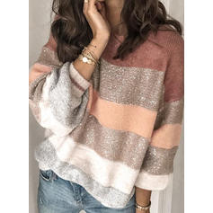 Color Block Cable-knit Round Neck Sweaters