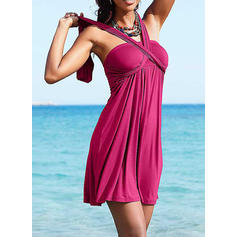 Solid Color Tank Halter Beautiful Cover-ups Swimsuits