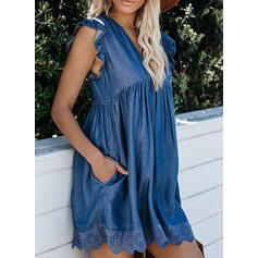 Solid Denim Short Sleeves Small Flying Sleeve Shift Above Knee Casual Dresses