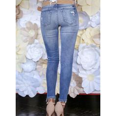 Patchwork Pockets Shirred Plus Size Long Elegant Sexy Skinny Jacquard Pants Denim & Jeans