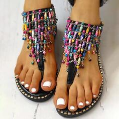 Women's PU Flat Heel Sandals Peep Toe With Rhinestone Zipper shoes