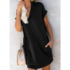 Sólido Manga Corta Tendencia Sobre la Rodilla Pequeños Negros/Casual Camiseta Vestidos