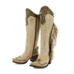 Kvinner PU Stor Hæl Pumps Støvler med Rivet Spenne sko