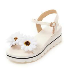 Mulheres PU Plataforma Sandálias Calços Peep toe Sapatos abertos com Flor sapatos