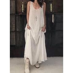 印刷 ノースリーブ シフトドレス タンク カジュアル マキシ ドレス