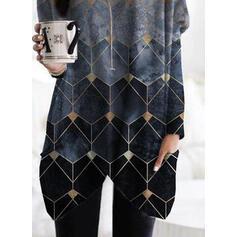 Geometrischer Druck Taschen Rundhals Lange Ärmel Pullover