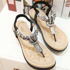 Naisten PU Wedge heel Varvastossut jossa Helmikoristelu kengät