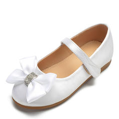 Girl's Satin Flat Heel Round Toe Closed Toe Flats Flower Girl Shoes With Bowknot Velcro
