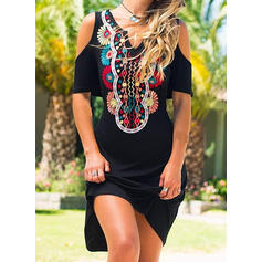 Print Short Sleeves Sheath Above Knee Casual/Boho/Vacation Dresses