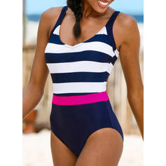 Stripe Color Block Strap U-Neck Sports Classic One-piece Swimsuits