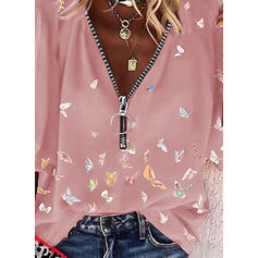 Estampado Animal Cuello en V Mangas 3/4 Casual Blusas