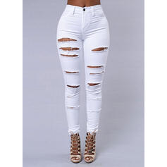 Büzgülü sökülmüş Uzun Sexy Sade Kot pantolon