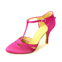 Women's Ballroom Heels Pumps Satin With T-Strap Latin