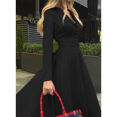 Solid Long Sleeves A-line Skater Little Black/Elegant Maxi Dresses