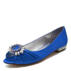 Femmes Satiné Talon plat Chaussures plates À bout ouvert Sandales avec Cristal
