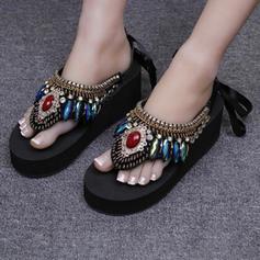 Frauen Weizenkleie Keil Absatz Keile Pantoffel mit Strass Schuhe