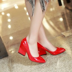 Women's Leatherette Chunky Heel Pumps Closed Toe shoes