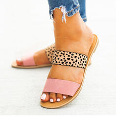 Women's PU Flat Heel Slippers With Animal Print shoes