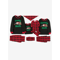 Plaid Letter Cartoon Familie Matchende Jul Pyjamas