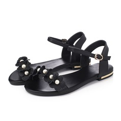 Women's Real Leather Flat Heel Sandals Flats Peep Toe With Imitation Pearl Buckle shoes